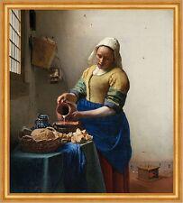 The milkmaid Jan Vermeer Bauern Milch Krug Schale Magd Brot Essen B A1 02469