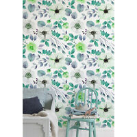 Removable wallpaper Watercolor Flowers Self adhesive Floral Floral Wall Mural