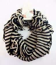 Infinity scarf black beige stripes fringe double loop knit cowl basic colors