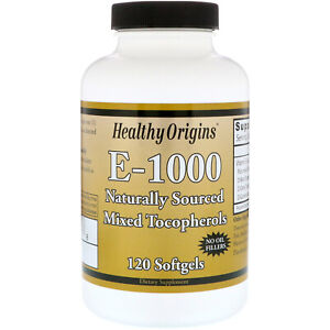 Vitamin E-1000IU 120 Capsules | No Oil Fillers | Non-GMO Antioxidant | Hair Skin