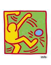 KH13 by Keith Haring Art Print Kick Ball Soccer Player Pop Poster 11x14