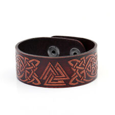Valknut Symbol Viking Brown Leather Bracelet Men Irish Knot Cuff Goth Wristbands