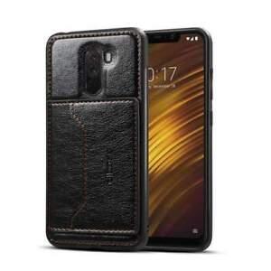 Xiaomi PocoPhone F1 Credit Card Holder Slot Protective Leather Wallet Case Black