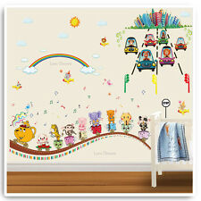 Animal auto adesivi murali giungla Music Treno Nursery Baby Bambini Camera Decal Art