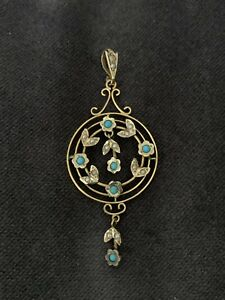 Beautiful Fine Antique Gold Turquoise And Seed Pearl Pendant !!