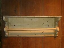 OLD PAINT PRIMITIVE WOOD TOWEL BAR SHELF BATHROOM KITCHEN aafa