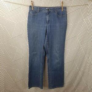 Coldwater Creek Straight Leg Jeans Blue Medium Wash Stretch size 10 denim Womens