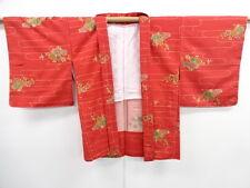 VINTAGE JAPANESE KIMONO, UNUSED HAORI, TSUMUGI, FLOWER & BIRD, JAPAN, CRAFT