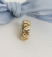 Authentic Pandora 14k Gold 14ct Leaf Leaves Spacer Charm 750241 Retired
