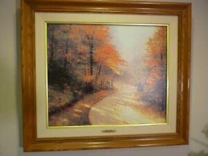 "REDUCED, Thomas Kinkade, "" Autumn Lane"" S/N LE, GP Canvas Mint, New Frame"