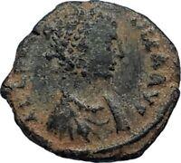 AELIA FLACILLA Theodosius I Wife 383AD Ancient Roman Coin VICTORY CHI-RHO i67682