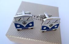 """CAMPER VAN"" GIFT-Drivers 19mm BLUE VAN FRONT METAL Cuff Links in a GIFT BOX-NEW"