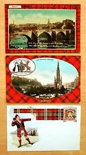 3 Postcards Clan Scott Man in Kilt Throwing Shot put Scottish Tartan & Arms