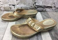 Cole Haan Sz 12 Gold Buckle Thong Style Platform NikeAir Sole Sandal Shoes