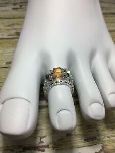 Handmade Amber Crystal Stretch Toe Ring W/Swarovski Elements USA
