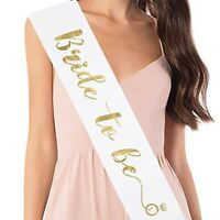 Bride To Be Sash. Beautiful White and Gold. Free shipping from USA!
