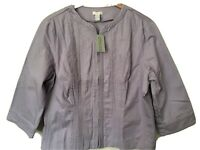 NWT Chico's 3 Lavender Angelic Denim Jacket Embroidered Full Zip Finn Wisteria
