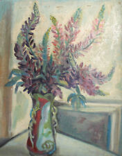 1990 Post impressionist oil painting still life with flowers signed