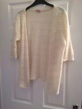 F & F Girls Cream With Gold Glitz Cardigan - Age 13-14yrs. 3/4 Sleeves