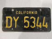1963-1970 YOM California Trailer License Plate DMV Clear Confirmed CA RV DY5344