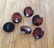 10 X 16mm Brown & Black Dappled Plastic Shank Buttons- Australian Supplier