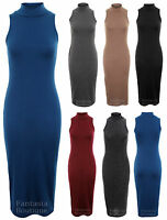 Ladies Sleeveless Plain Maxi Full Length Turtle Neck Womens Dress