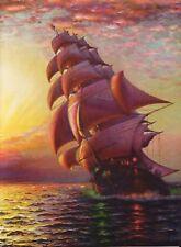 BEAUTIFUL OCEAN SAILING SHIP & RED SKY LITHOGRAPH ART PRINT NAUTICAL #4 ~ 9 X 12