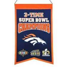 """Oakland 3 Time Super Bowl Champions Embroidered Wool Banner 14"""" X 22"""""""