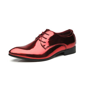 British Style Pointed Toe Lace Up Formal Dress Suit Shoes Patent Leather Oxfords