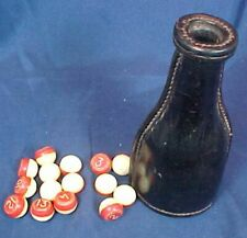 Vintage Kelly Pool Ball Shaker and Balls Leather Material Stitched