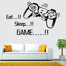 Hot Eat Sleep Game Wall Art Wall Stickers Gamer Bedroom Removable Black Decal