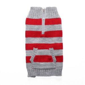 ALLACKI Classic Striped with Zipper Sweaters Multicolor with Pockets Dog Clothes