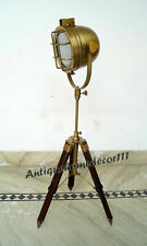 Hollywood Vintage Antique Table Lamp Brown Tripod Lighting Searchlight Spotlight