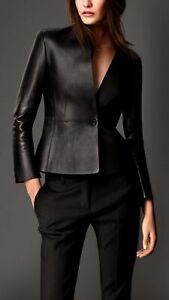 Women Ladies Stylish Real Lambskin Leather Motorcycle Slim fit Jacket