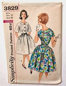 Vintage 1950s SIMPLICITY Sewing Pattern FULL Skirt Dress Uncut Factory Folds 16