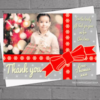 Personalised Christmas Thank you cards Photo Note Present x 12 A6 flat H1765