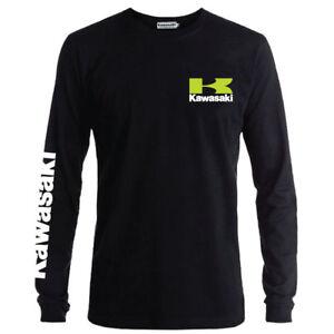 Genuine Kawasaki Extreme Race Motorcycle Motorbike Black Long Sleeve Tee T-Shirt