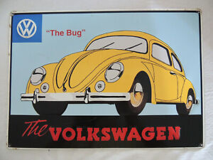 Vintage Volkswagen Beetle Metal Sign HJO Productions, The Hague Holland