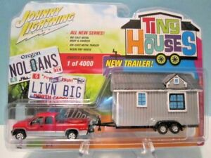 JOHNNY LIGHTING, TINY HOUSES DIECAST 1996 DODGE RAM 1500 WITH TRAILER AND HOUSE.