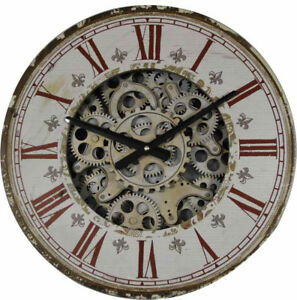 Vintage 44 Cm Roman Numeral Gear Moving Wall Clock.(on Sale)