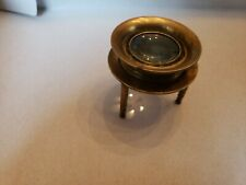 "Antique Brass Desk Map Magnifying glass magnifier Tripod ""Cindo"" France. 2"" dia."