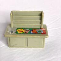 Vintage Fisher Price Little People Grey Desk Newspaper Magazine Stand RARE