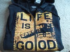Life is Good Graphic Lifeguard Zipper Front Hoodie Sweatshirt Jacket~New~L