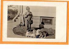 Real Photo Postcard RPPC - Boy with Cat - Animal