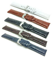 18-30mm Leather Watch Band Strap, white stitching, Alligator style, 5 colors