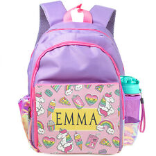 Personalised UNICORN School Bag Girls Backpack ChildrensKids Pink Unicorns KS119