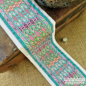Ethnic Chinese Embroidered Geometric Ribbon Tape Tribal Multicolour M1913