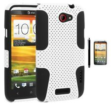 HTC One X- Hybrid Black Silicone with White Snap-on Case+Screen Protector+Stylus