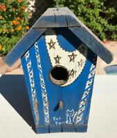 Rustic Wood Bird Houses Hand Painted Signed Garden Patio Porch Decor Birdhouse