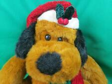 Big Golden Bear Cinnamon Brown Black Christmas Puppy Dog Santa Claus Hat Plush